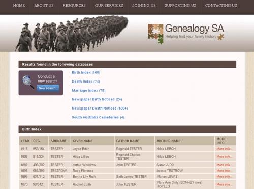 Genealogy SA BDMs 500