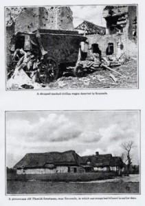 top: a shrapnel-marked civilian wagon deserted in Stazeele, France