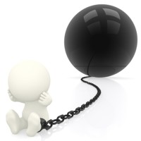 convict prisoner with ball and chain