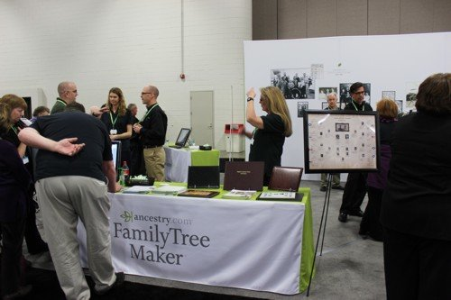 Ancestry's had a number of tables within their booth, including a Family Tree Maker one as shown here. All were kept busy throughout the conference
