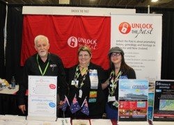 the team from Unlock the Past at RootsTech 2013: Alan Phillips, Helen Smith & Alona Tester