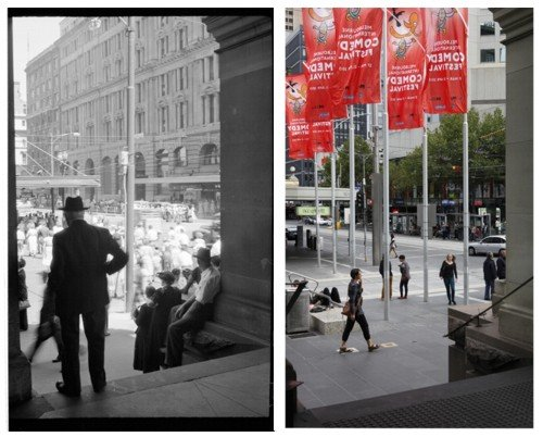 then (1950s) and now (2013) image of a scene in Melbourne