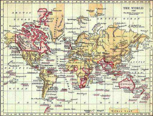 "The World in 1897. ""The British Possessions are coloured Red"""