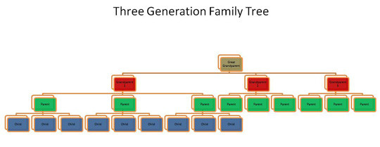 This diagram demonstrates 3 generations of a family tree where each generation produces 3 children. Spouses are not included in the diagram. This is done to prevent double counting with other family trees in the general population. As well, for the purposes of simplifying the diagram, only one child group out of the three possible child groups is shown.