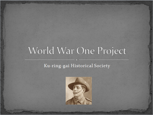 Ku-Ring-Gai Historical Society WW1 project
