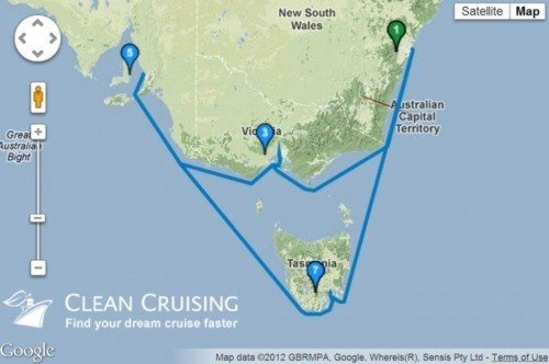 map showing where our cruise will be going<br>Sydney > Melbourne > Adelaide > Hobart > Sydney