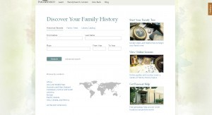 FamilySearch homepage in 2011