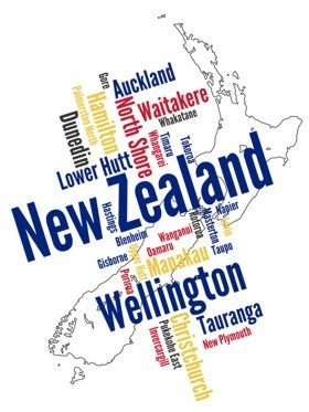 New Zealand map and words cloud with larger cities