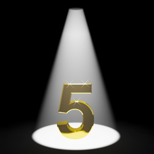 Gold 5th 3d Number Representing Anniversary Or Birthdays