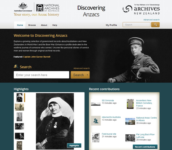 Discovering Anzacs website