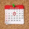 July 2015 Calendar on cork board 3d render