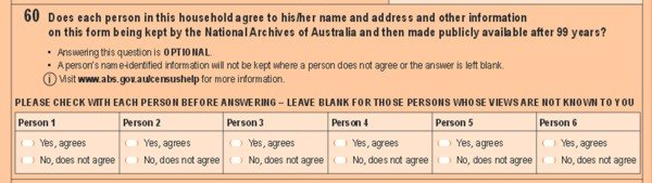 question 60 from the 2011 Australian census