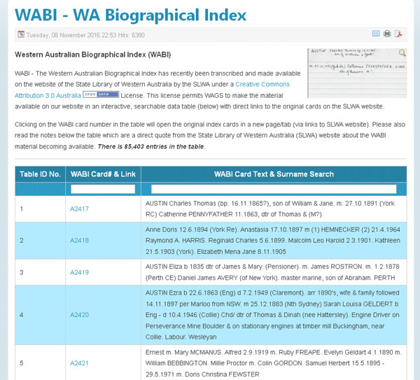 a few sample WA Biographical Index entries as shown on the WAGS website