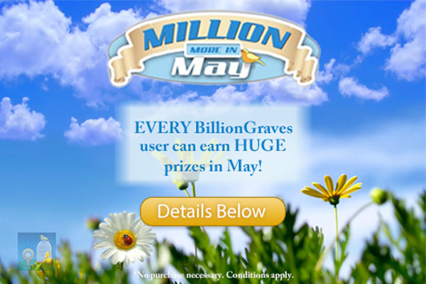 BillionGraves Million More in May