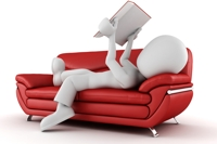 3D man on couch