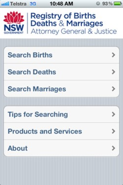 NSW Births, Deaths and Marriages - Family History App