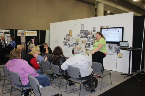 Ancestry has their own small session within their booth. Crista Cowan is the presented in this one.