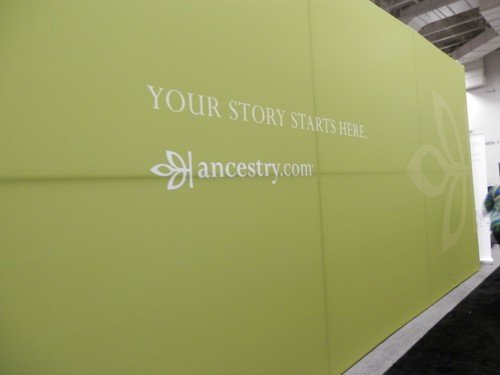 you couldn't miss the lime green wall of the Ancestry.com stand at RootsTech 2013