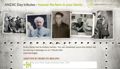 Ancestry ANZAC Day Tributes