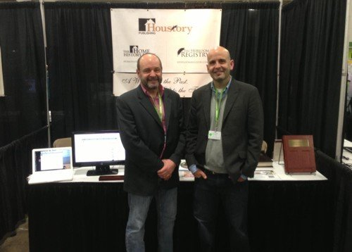 brothers Mike and Dan Hiestand at their Houstory stand at RootsTech 2013