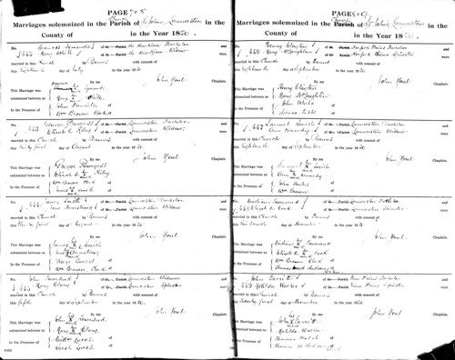 a sample of later Tasmanian marriage records