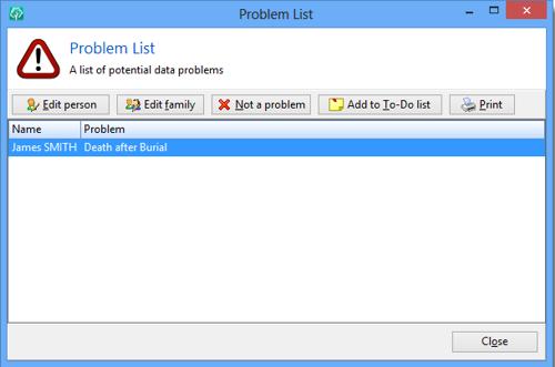 RootsMagic 6 - ProblemList a