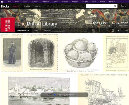 screenshot of the British Library Flickr homescreen