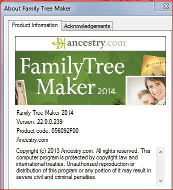 family tree maker 2014 patch update 22 0 0 1260 or 22 0 0 260