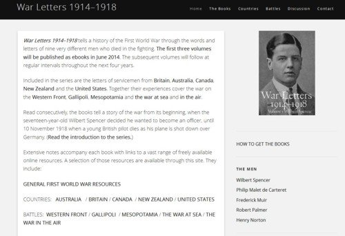 War Letters homepage