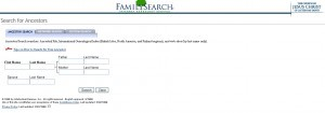 FamilySearch homepage in 1999