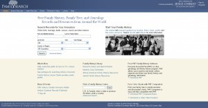 FamilySearch homepage in 2009