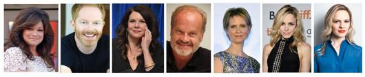 L-R: Valerie Bertinelli, Jesse Tyler Ferguson, Lauren Graham, Kelsey Grammer, Cynthia Nixon, Rachel McAdams, and Kayleen McAdams