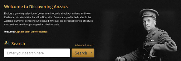 Discovering Anzacs homepage
