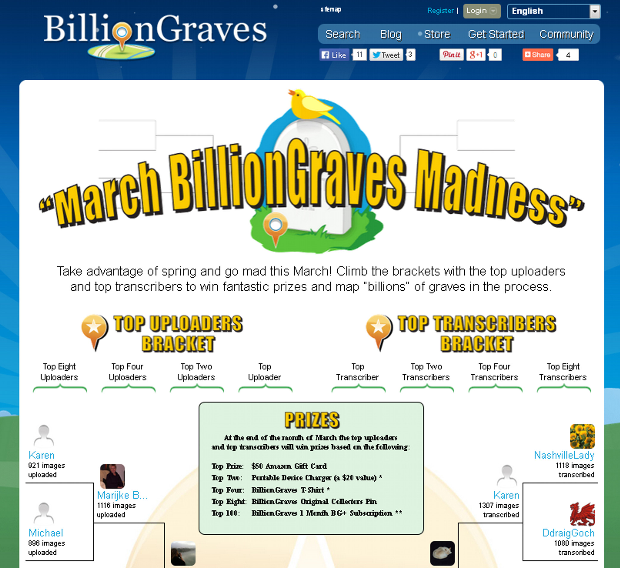 BillionGraves has March Madness