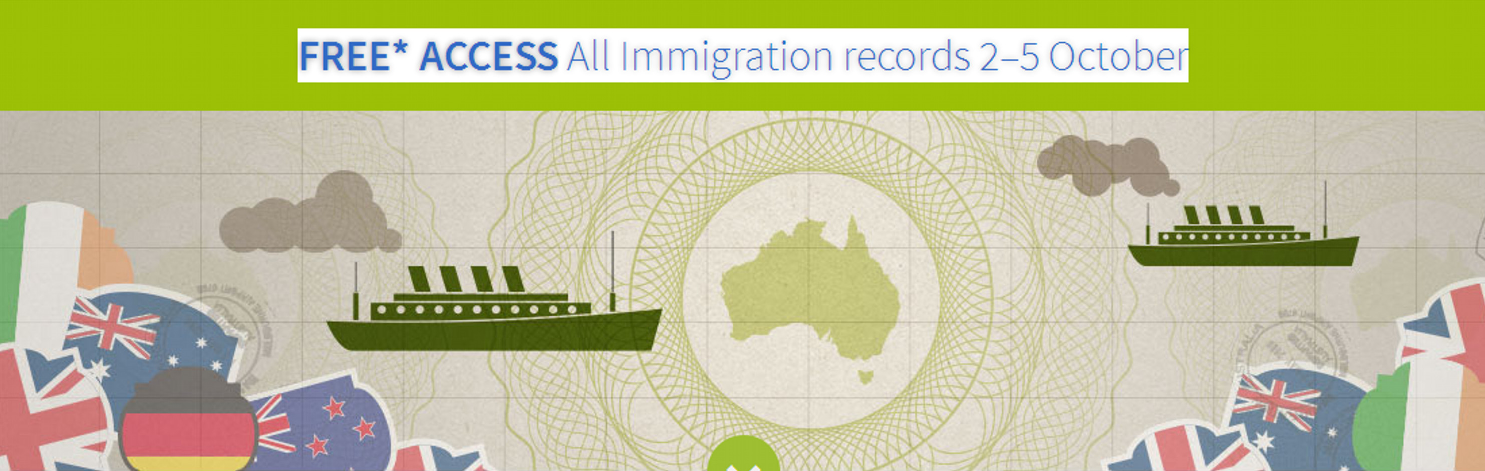 Free Access to Ancestry's Immigration Records (2-5 October)