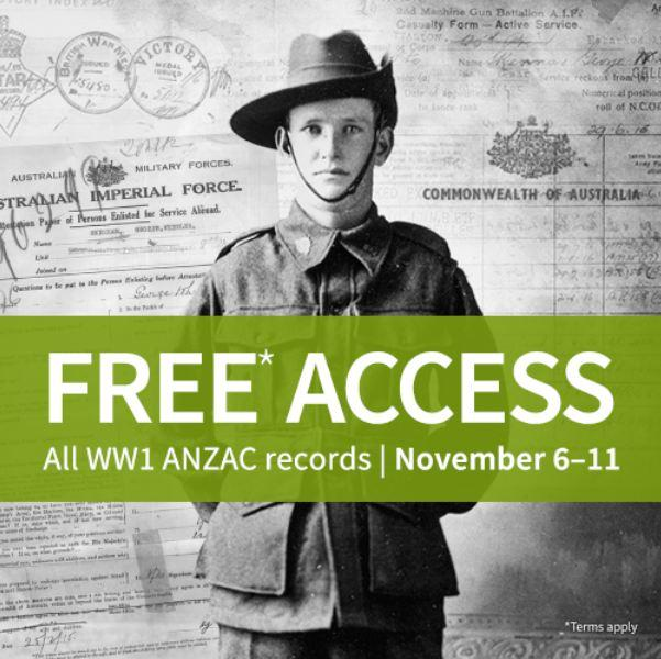 Ancestry's WW1 Military Records are FREE until Remembrance Day