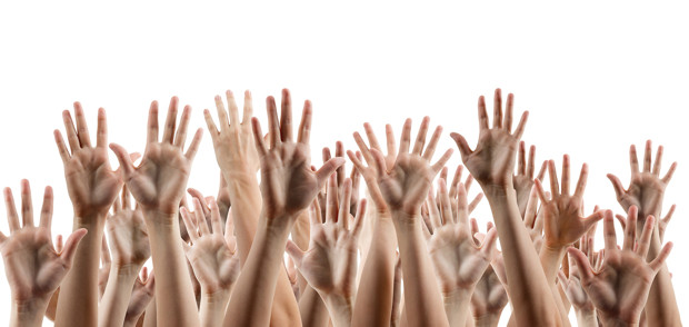 Many people's hands up isolated on white background. Various hands lifted up in the air. Clipping path. Copy space.