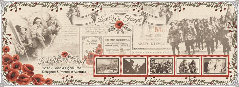 """Lest We Forget"" Australian Military Scrapbook Papers"