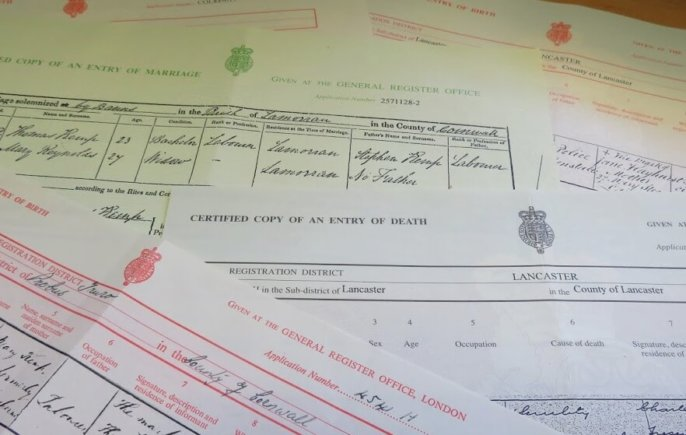 birth, marriage and death certificates from the GRO