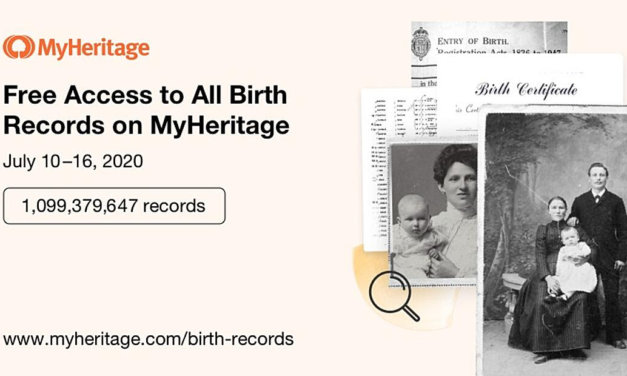 FREE Access to Over 1 Billion Birth Records on MyHeritage